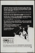 """Movie Posters:Drama, Cries and Whispers (New World, 1972). One Sheet (27"""" X 41""""). Drama...."""