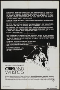 """Cries and Whispers (New World, 1972). One Sheet (27"""" X 41""""). Drama"""