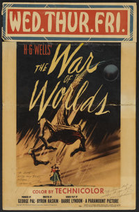 """The War of the Worlds (Paramount, 1953). Autographed Window Card (14"""" X 21.5""""). Science Fiction"""