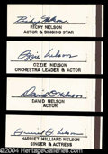 Autographs, Nelson Family Rare Vintage Signature Set