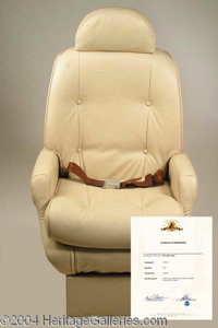 """Spaceship chair from Outer Limits - This off-white faux leather spaceship chair was used during the """"Joyride""""..."""