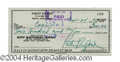 Autographs, Robert Redford Signed Bank Check