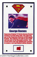 Autographs, George Reeves Superman Original Cape Swatch Display