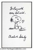 Autographs, Charles Schulz Signed Large Snoopy Sketch