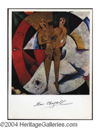 """Marc Chagall Signed Hommage a Apollinaire Print - 9.5 x 13 color bookpage print featuring an image of Chagall's """"Ho..."""