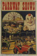 Autographs, Parkway Shows Vintage Circus Poster