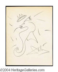 Autographs, Salvador Dali Hand Drawn Signed Sketch