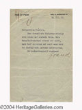 Autographs, Sigmund Freud Scarce Typed Letter Signed