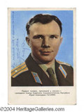 Autographs, Yuri Gagarin Vintage Signed Russian Photo