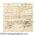 Autographs, John Hancock Early Signed Document