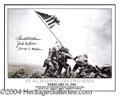 Autographs, Iwo Jima Flag Raising Photo Signed by Medal of Honor Recepients