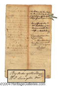 Autographs, William Livingston Dec. Signer Signed Document