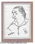 Autographs, Golda Meir Rare Signed Oscar Berger Sketch