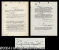 Autographs, Gian Carlo Menotti Rare Signed Document