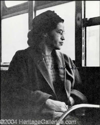 Rosa Parks Signed 8 x 10 Photograph - Excellent 8 x 10 black and white glossy photograph featuring Parks looking out a b...