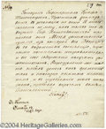 Autographs, Czar Paul I of Russia ALS Letter Signed