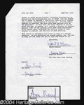 Autographs, Ayn Rand Rare & Important Signed Document