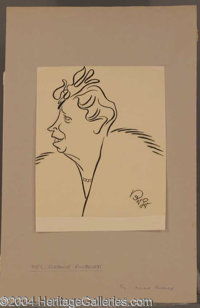 Eleanor Roosevelt Original Oscar Berger Sketch - A nice unsigned caricature of the former first lady, drawn by world fam...