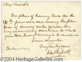 Autographs, Sir Walter Scott Handwritten Signed Note
