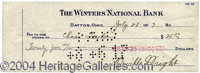 Orville Wright Desirable Signed Bank Check to Charles Taylor - Desirable signed bank check, 8.5 x 3, The Winters Nationa...