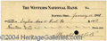 Autographs, Orville Wright Unique Signed Bank Check for Wright Cycle Co.