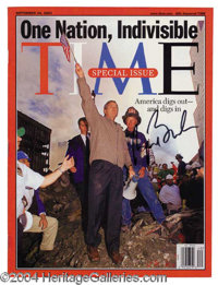 George W. Bush Signed 9-11 Time Magazine - A fabulous piece which represents a defining moment in American history, pres...