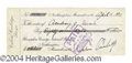 Autographs, Calvin Coolidge Signed Bank Check