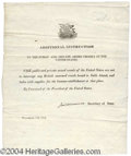 Autographs, James Monroe Signed War Dated Naval Instruction Paper from 1812