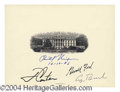 Autographs, Rare Four Presidents Signed White House Engraving