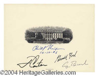 Rare Four Presidents Signed White House Engraving - Official 6 x 8 engraving of the White House, published by the Nation...