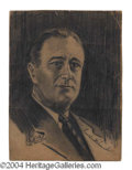 Autographs, Franklin D. Roosevelt Signed Artist Self-Portrait Sketch