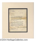 Autographs, Warren G. Harding Typed Letter as President to IRS