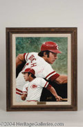 Autographs, Johnny Bench Signed Leon Wolf Oil Painting