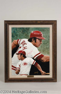 Johnny Bench Signed Leon Wolf Oil Painting - A beautiful, one-of-a-kind relic of museum quality design, presented here i...
