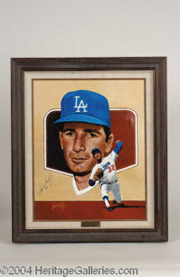 Sandy Koufax Signed Leon Wolf Oil Painting - A beautiful, one-of-a-kind relic of museum quality design, presented here i...