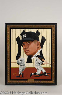 Mickey Mantle Signed Leon Wolf Oil Painting - A beautiful, one-of-a-kind relic of museum quality design, presented here...
