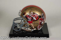 Joe Montana & Jerry Rice Signed Helmet w/ Artwork - A one-of-a-kind piece honoring the greatest quaterback-received...