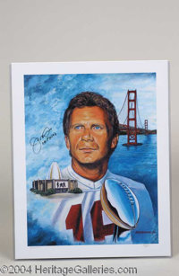 Joe Montana Limited Edition Signed Lithograph - Beautiful 16 x 20 color lithograph print featuring an attractive collage...