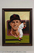Autographs, Stan Musial Signed Leon Wolf Oil Painting