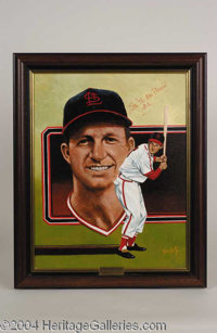 Stan Musial Signed Leon Wolf Oil Painting - A beautiful, one-of-a-kind relic of museum quality design, presented here is...