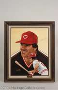 Autographs, Pete Rose Signed Leon Wolf Oil Painting