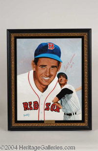 Ted Williams Signed Leon Wolf Oil Painting - A beautiful, one-of-a-kind relic of museum quality design, presented here i...