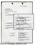 Autographs, Beach Boys Rare Vintage Signed Document