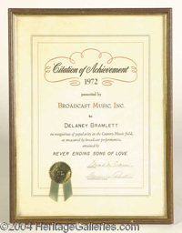 Delaney Bramlett 1971 Achievement Award Never Ending Song of Love - A Citation of Achievement presented to Delaney in 19...