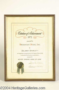 Delaney Bramlett 1972 Achievement Award Never Ending Song of Love - A Citation of Achievement from 1972 presented to Del...