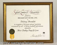 """Delaney Bramlett BMI Award for Never Ending Song of Love - A Special Citation of Achievement presented to Delaney """"..."""