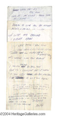 Autographs, Lindsey Buckingham Original Fleetwood Mac Lyrics