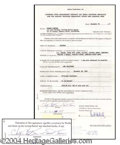 Autographs, Chubby Checker Vintage Signed Document
