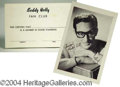 Autographs, Buddy Holly Fan Club Card & Photo