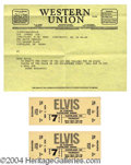 Autographs, 2 Elvis Concert Tickets and Bonaducci Telegram